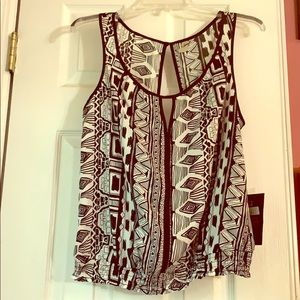 Geographic Print Tank Top with Open Back NWT